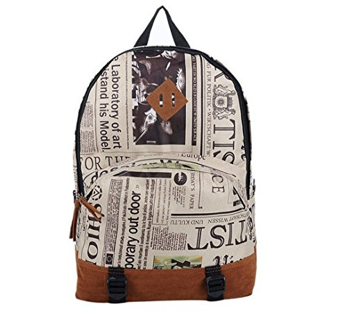 FTSUCQ Unisex Newspaper Backpack Travel Daypack Tote School Bags Shoulder Satchels (Backpack Blower Toy compare prices)