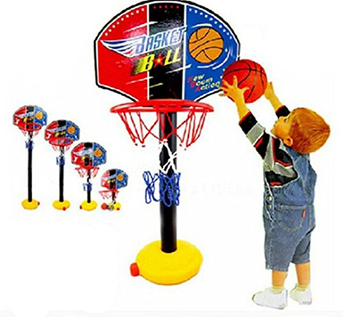 LFHT Kids Toddler Baby Children Outdoor Indoor Sports Train Equipment Mini Portable Adjustable Basketball Hoop Toy Set Stand Ball Pump Backboard Net