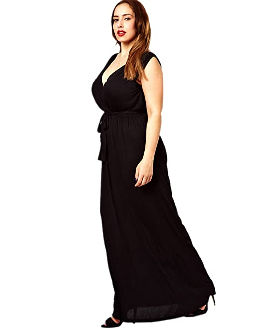 Meilaier Womens Summer Plus Size Sexy V Neck Maxi Long Dress Black, Rose (US 16, Black)