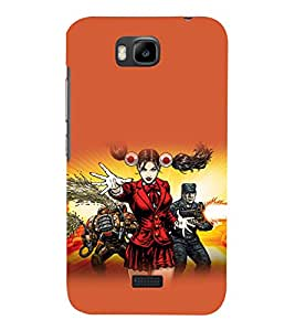 printtech Cartoon Warrior Girl Back Case Cover for Huawei Honor Bee