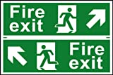 Fire exit man running arrow diagonally up left / right sign 1mm rigid PVC self adhesive backing 300 x 200mm