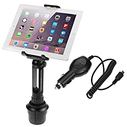 iKross 2-in-1 Cellphone & Tablet Adjustable Swing Long Arm Cup Mount Holder Car Kit + Car Charger for Asus Memo Pad 10 / 8 / HD 7 and more Tablet