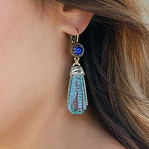 Blue Goddess Egyptian Earrings