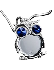 GirlZ! Crystal Rhinestone Owl Long Pendant With Chain - Blue