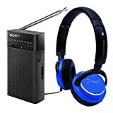 Sony ICFP26 Portable AM/FM Radio Black & bonus I-kool Comfort Plus Headphone Blue