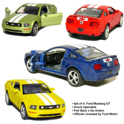 set-of-4-5-2006-ford-mustang-gt-with-stripes-138-scale-blue-green-red-yellow-by-kinsmart
