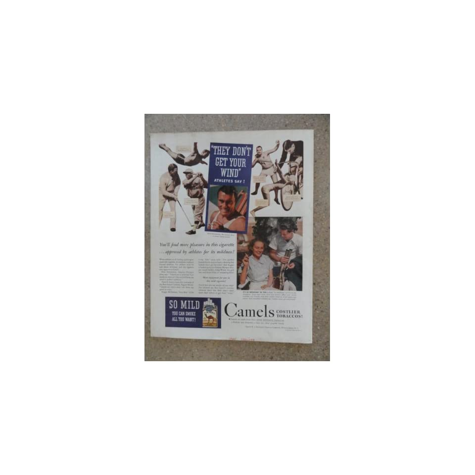 Camel Cigarettes,Vintage 30s full page print ad (golf,Craig Wood/baseball,Pepper Martin/diving Pete Desjardins) Original vintage 1935 Colliers Magazine Print Art.