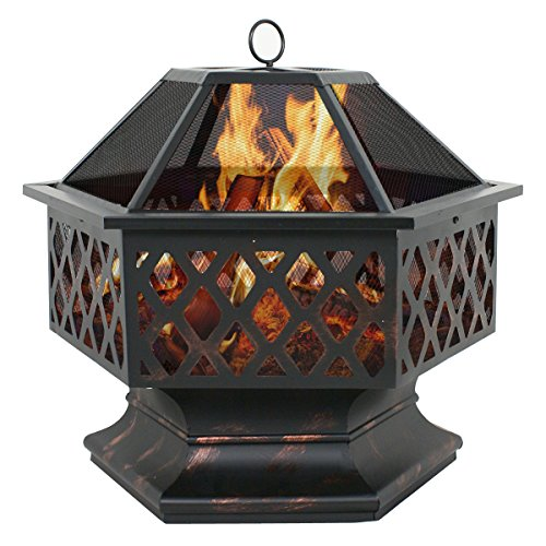 F2C Black Steel Bronze Outdoor Hex Shaped Patio Fire Pit Home Garden Backyard Firepit Bowl Fireplace (Outdoor Firepits Wood Burning compare prices)