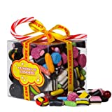 Liquorice Sweets Gift Cube With Giant Lollipop or Peppermint Candy Cane