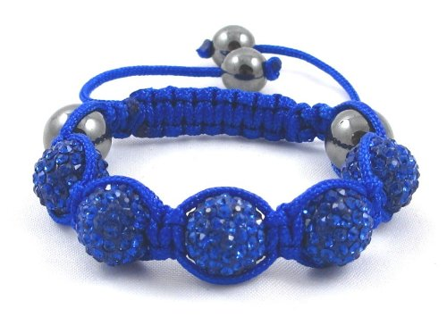 05-Ball Children Kids Girls Boys Petites Teen Blue Bead Shamballa Bracelet on Blue String