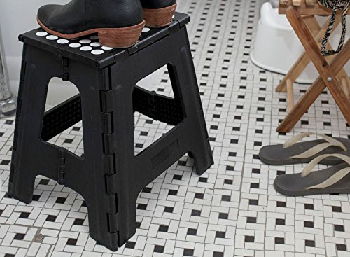 Kikkerland Rhino Tall Folding Step Stool Black Hardware