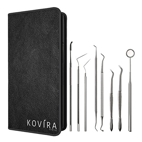 DENTIST TOOL KIT – 8 Piece – A-Grade Stainless Steel Tarter Remover, Dental Pick, Toothpick & Dental Hygiene Set – Ideal Personal Use – With FREE Case & Guide 100% Money-back Guarantee By Kovira TM