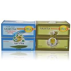 GTEE Green Tea Bags-Mint & Tulsi Tea Bags (25 Tea bags X 2PACKS)