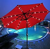 Patio Furniture-Patio Umbrella-This Is Premium 10'Patio Solar Umbrella LED Patio Market Steel Tilt With Crank -Color RED-Umbrellas especially designed to keep you cool and more comfortable than a traditional umbrella-Guaranteed!