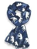Hanson Gorgeous Grey Elephant Family Print Long Scarf Shawl Sarong (Blue)