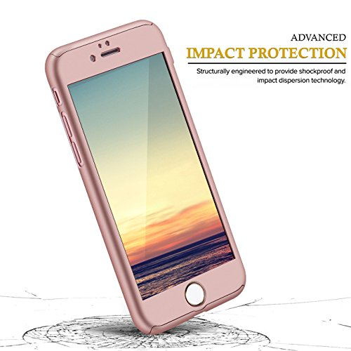Zizo 360 Case iPhone 7 Cover - Slim Full Coverage w/ FREE 0.3m 9H Tempered Glass Screen Protector - Ultra Thin Lightweight Protective