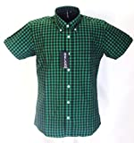 Green/Black Gingham Short Sleeve Button Down Mod Retro Shirt FREE UK DELIVERY