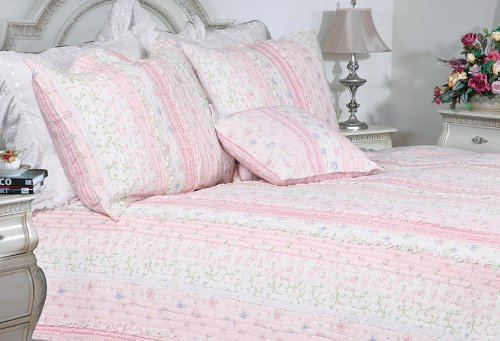 [Flowering Season - Pink] 100% Cotton 2PC Classic Floral Vermicelli-Quilted Quilt Set (Twin Size)