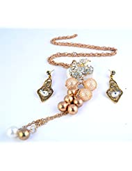 IMeMyStile_Imported Designer Collection_Stunning Antique Gold Finish White Stone-work Designer Pendant With Long...