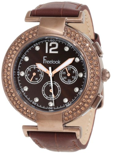 Freelook Women's HA1335B-3 Brown Chronograph Dial With Stones And Swarovski Bezel Watch