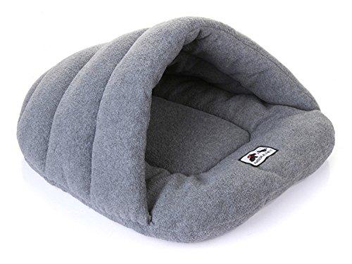Pet Gatto Letto Piccolo Cane Cucciolo Canile Divano Polar Fleece Materiale Bed pet mat Gatto Gatto di Casa Sacco a Pelo Caldo Nido di Alta Qualità (M : 58 * 48 cm, Grigio)
