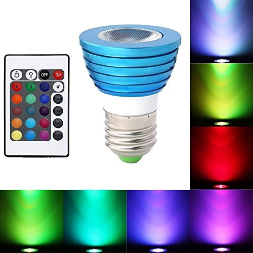 Elover E27 3 W Romantic Multi-Setting Energy Saving RGB LED Bulb Lamp 16 Colors Change,Magic Bright LED Spotlight ,Downlight Lighting For Party Decoration and Festival activity With Remote Control