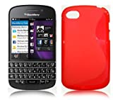 RED S LINE WAVE GEL CASE FOR BLACKBERRY Q10 + FREE SCREEN PROTECTOR
