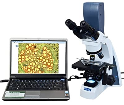 OMAX 40X-2000X Digital LED Infinity Digital Compound Microscope with 30 Degree Siedentopf Viewing Head and 5.0MP Built-in USB Camera by OMAX