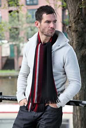Mens Fraas 100% Wool Stripe Detail Scarf In 3 Colours - One Size - Red