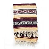 Mexican Blanket Serape colors burgundy, maiz & white