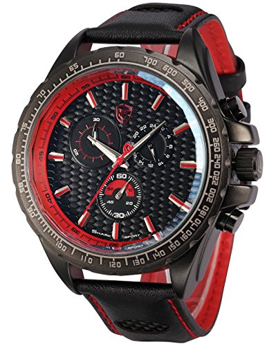 Shark Mens Chronograph 24 Hours Japanese Quartz Black Leather Sport Watch SH196 Red rugged shark mens aquamesh3 water shoes