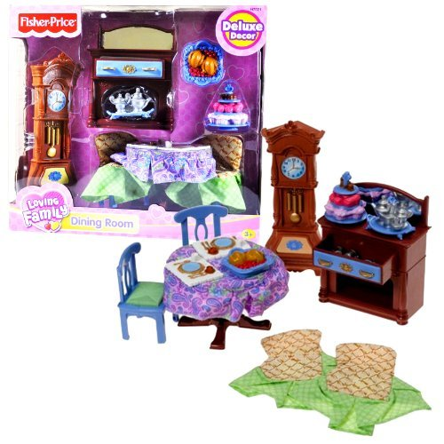 Fisher Price Loving Family Dollhouse Deluxe Decor Furniture Accessory Set - DINING ROOM with Dinner Table, 2 Chairs with Covers, Buffet Table with Opening Drawer, Grandfather Clock, Tray with