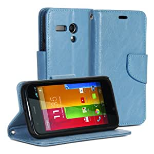 GMYLE(R) Sky Blue Crazy Horse Pattern PU Leather Protective Flip Folio Slim Fit Wallet Purse Stand Case Cover for Motorola Moto G X1032