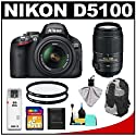 Nikon D5100 16.2 MP Digital SLR Camera & 18-55mm G VR DX AF-S Zoom Lens with 55-300mm VR Lens + 16GB Card + Backpack + (2) Filters + Cleaning & Accessory Kit