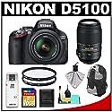 Nikon D5100 16.2 MP Digital SLR Camera & 18-55mm G VR DX AF-S Zoom Lens with 55-300mm VR Lens + 16GB Card + Backpack + (2) Filters + Cleaning & Accessory Kit