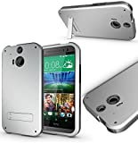 Magic Global Gadgets - SILVER Box Armor Tough Heavy Duty Shock Proof Case Cover With Media Stand For HTC ONE M8 / HTC ONE 2 (2014) With Front Frame + Stylus Pen + Screen Guard + Cleaning Cloth