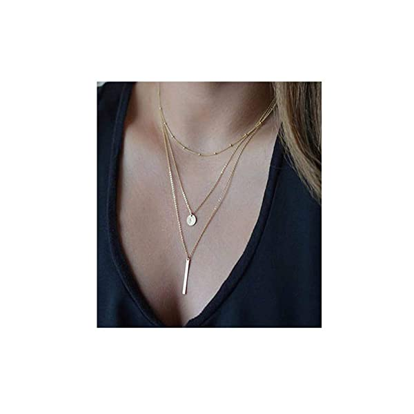 18k Gold Plated Layered Necklace Coin Gold Pendant Necklace Pearl Choker Necklaces Gold Chain Necklace for Women Lady Girls Gift Jewelry (Color: gold layer necklace)