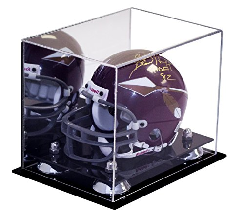 Deluxe Acrylic NFL / NCAA Collectible Mini Helmet Display Case with UV Protection with Mirror (A003-SR) (Nfl Mini Football Display Case compare prices)