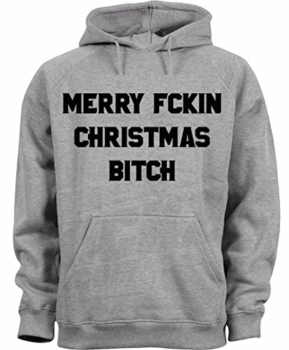 Merry Fckin Christmas Bitch Censored Funny Quote Design Uomo Donna Unisex Grey Melange Hoodie