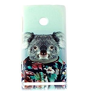 BestCool PC Matériel Capot Peint Koala Mignon Pied Série Protection de Etui pour Nokia Lumia 520 N520 - Bleu Clair