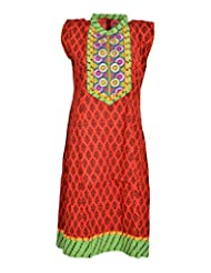 Global Women's Cotton Straight Kurta (GW25GreenXL015, Green, XL)