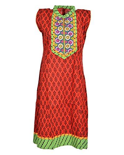 Global Women's Cotton Straight Kurta (GW25GreenXL015, Green, XL)