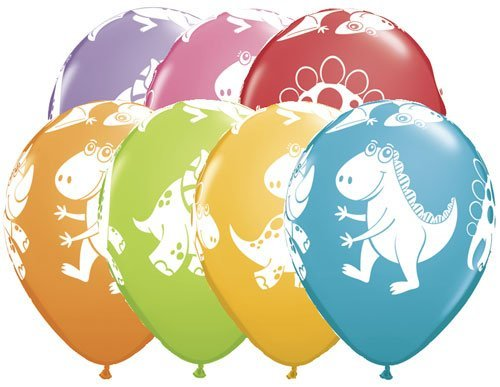 "Single Source Party Supplies - 11"" Cute & Cuddly Dinosaurs Festive Assortment Latex Balloons - Bag of 5"