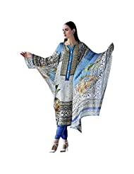 White And Blue Satin Silk Designer Pakistani Salwar Kameez