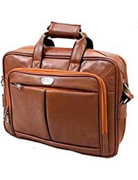 "AYS Stylish 16"" Fully Expandable Tan(Light Brown) Colour Faux Leather Specious Laptop Sleeve Messenger Office..."