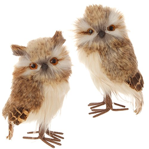 Christmas Feathered Brown Owl Bird Figure Ornaments - 5.5