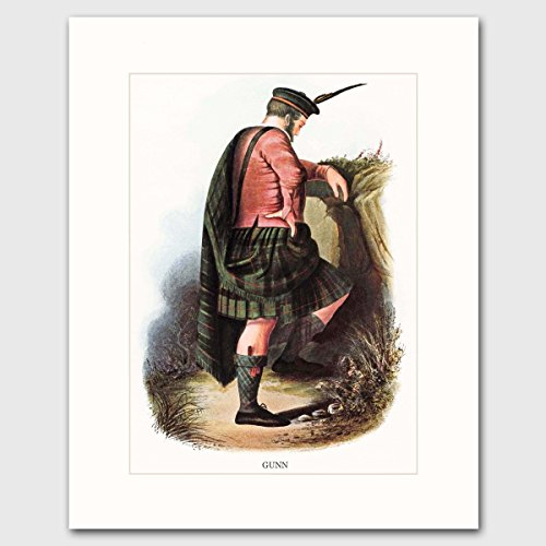 gunn-clan-scotland-art-w-mat-traditional-highland-dress-wall-decor-matted-print