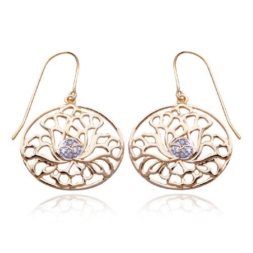 18k Yellow Gold Plated Sterling Silver Diamond-Accent Flower Oval Earrings