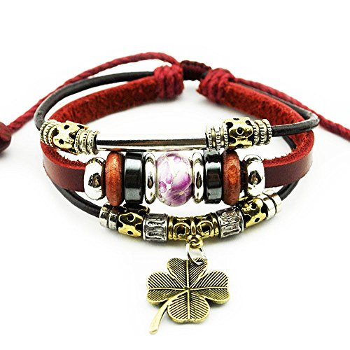 Nice Buckeye Multi-strand Printing Beads Red Rope Four Leaf Pendant Adjustable Length Leather Bracelet