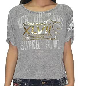 NFL Super Bowl XLVII New Orleans Saints Womens T-Shirt (Vintage Look) Small Grey